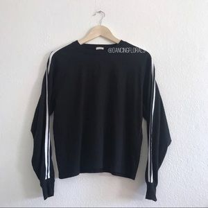 Brandy Melville black white striped sleeve sweater
